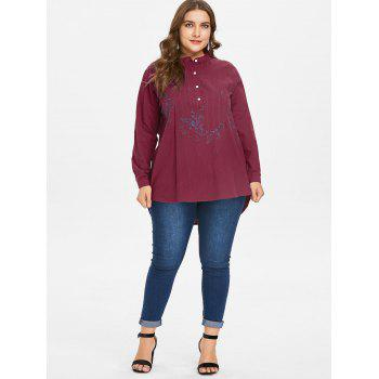 Plus Size Embroidery Dip Hem Blouse - RED 1X