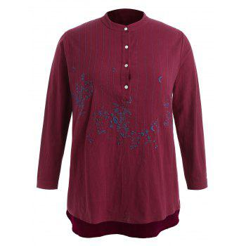 Plus Size Embroidery Dip Hem Blouse - RED 3X