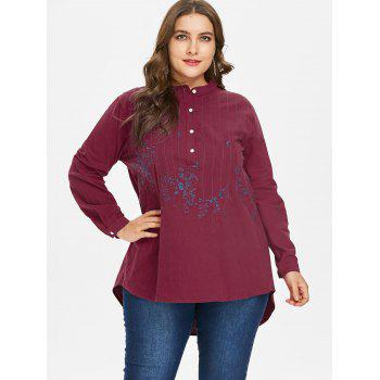 Plus Size Embroidery Dip Hem Blouse - RED 4X