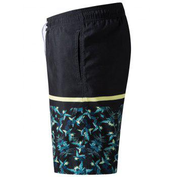 Panel Leaves Print Drawstring Bermuda Shorts - BLACK XL