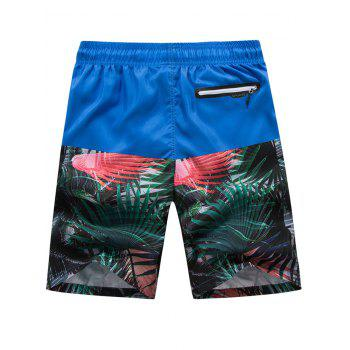 Panel Leaves Print Drawstring Beach Shorts - BLUEBERRY BLUE XL