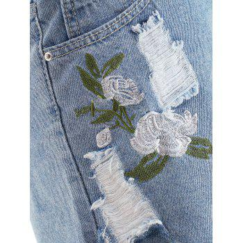 Torn Embroidered Jeans Shorts - JEANS BLUE S