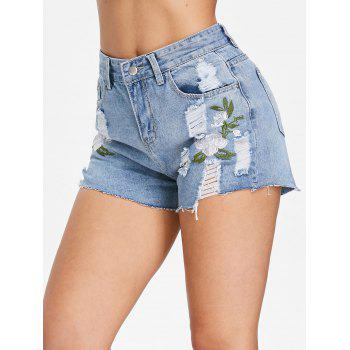 Torn Embroidered Jeans Shorts - JEANS BLUE XL