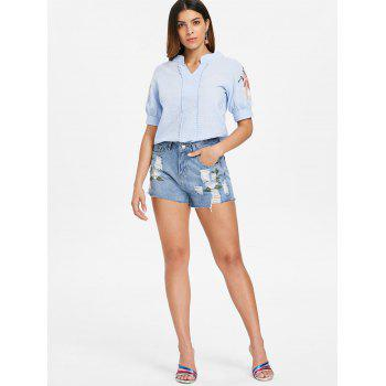 Torn Embroidered Jeans Shorts - JEANS BLUE L