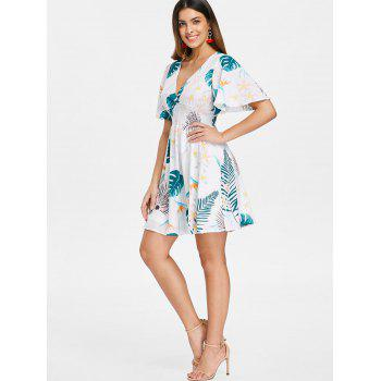 Leaf Print Mini Flare Dress - WHITE S