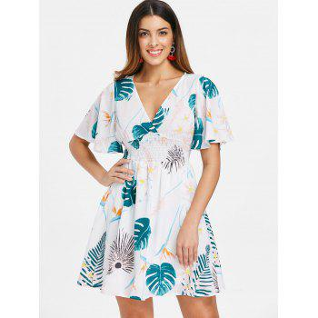 Leaf Print Mini Flare Dress - WHITE M