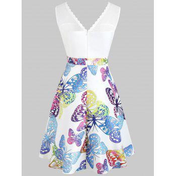 Butterflies Printed High Waist Sleeveless Dress - WHITE M