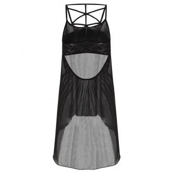 Cut Out Lace Panel Chiffon Tank Top - BLACK 2XL