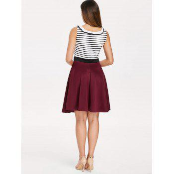 Self Tie Striped Panel Fit and Flare Dress - multicolor M