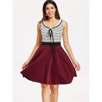 Self Tie Striped Panel Fit and Flare Dress - multicolor L
