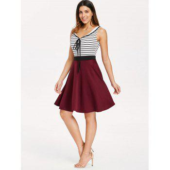 Self Tie Striped Panel Fit and Flare Dress - multicolor XL