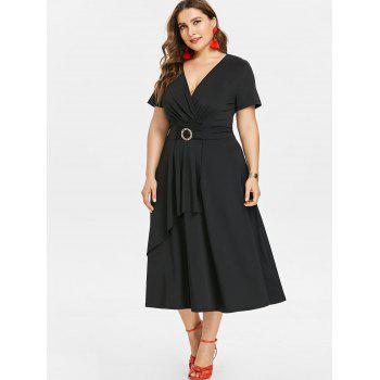 Short Sleeve Plus Size Asymmetrical Dress - BLACK 1X