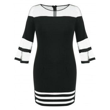 Plus Size Mini Mesh Panel Tight Dress - BLACK 1X