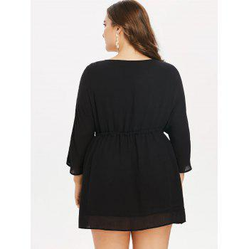 Plus Size Drawstring Embroidery Mini Dress - BLACK 1X