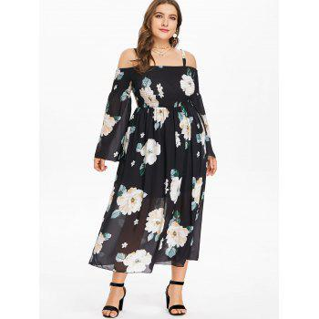 Plus Size Flared Sleeve Print Flowy Dress - BLACK 2X