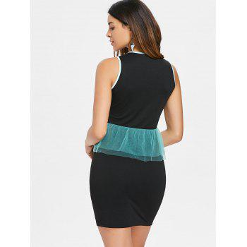Sleeveless Mesh Peplum Short Dress - BLACK M