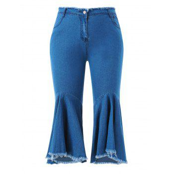 Zipper Fly Plus Size Frayed Hem Jeans - DENIM DARK BLUE L