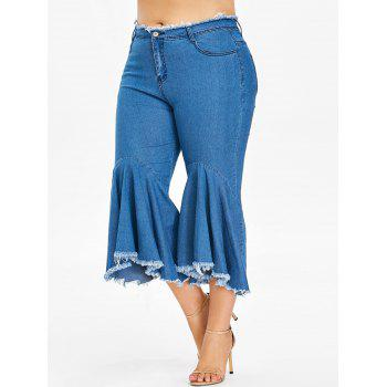 Zipper Fly Plus Size Frayed Hem Jeans - DENIM DARK BLUE 1X