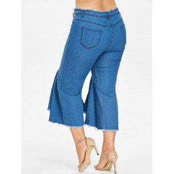 Zipper Fly Plus Size Frayed Hem Jeans - DENIM DARK BLUE 5X