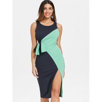 Two Tones Sleeveless Belted Bodycon Dress - BLUE GREEN M
