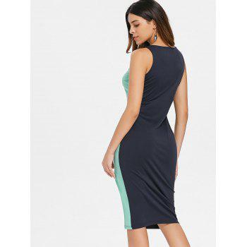Two Tones Sleeveless Belted Bodycon Dress - BLUE GREEN XL