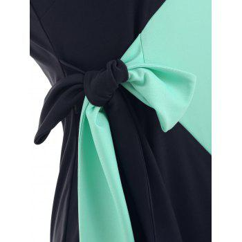 Two Tones Sleeveless Belted Bodycon Dress - BLUE GREEN 2XL