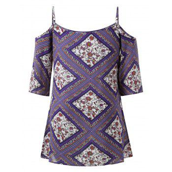 Plus Size Ethnic Print Shift Dress - PURPLE 1X