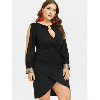 Slit Sleeve Plus Size Sequin Embellished Bodycon Dress - BLACK 1X