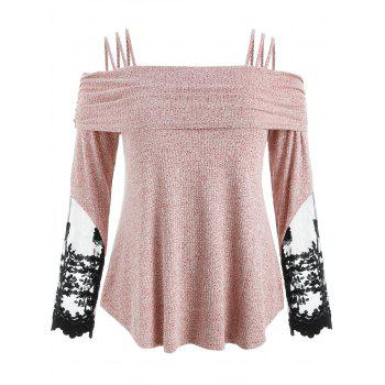 Plus Size Lace Insert Ribbed T-shirt - LIGHT PINK 3X