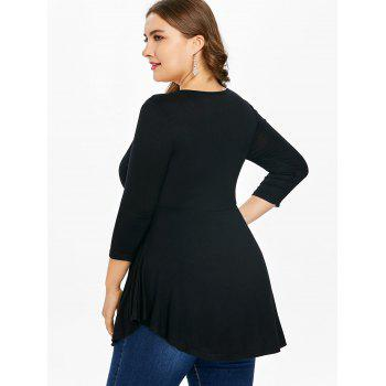 Plus Size Square Neck Embellished Peplum T-shirt - BLACK L