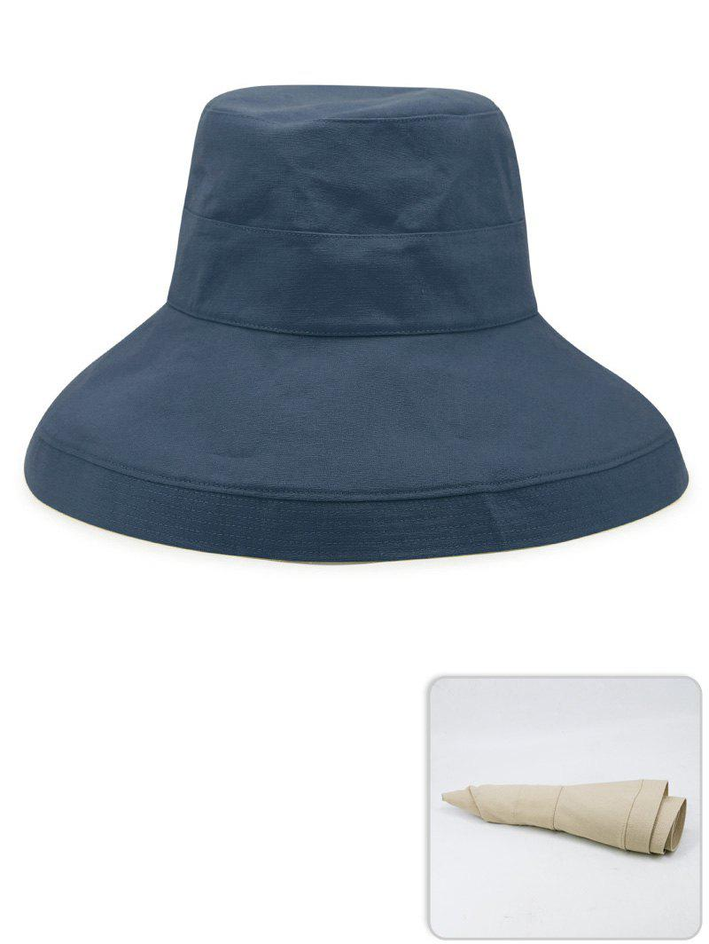 Outdoor Solid Color Wide Brim Travel Hat, Marble blue
