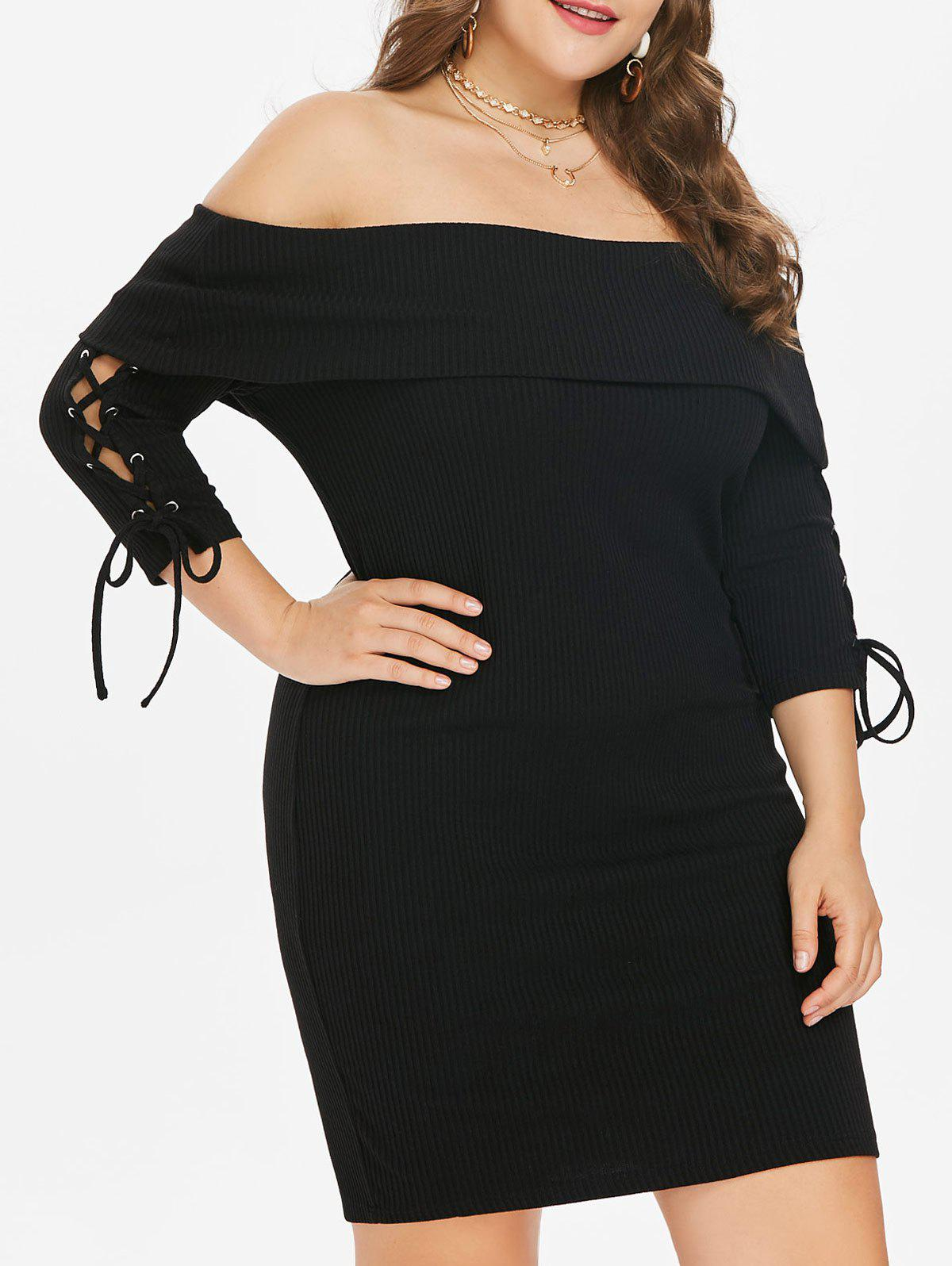 Lace Up Sleeve Plus Size Mini Bodycon Dress - BLACK 1X