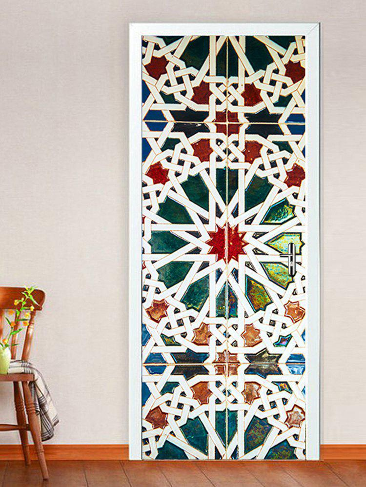 Colorful Geometric Pattern Door Stickers - multicolor 38.5*200CM*2PCS