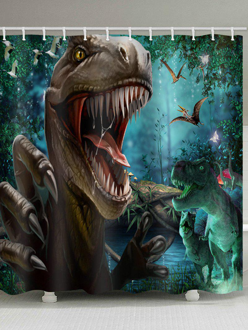 Tyrannosaurus Printed Stall Shower Curtain - multicolor W71 INCH * L79 INCH