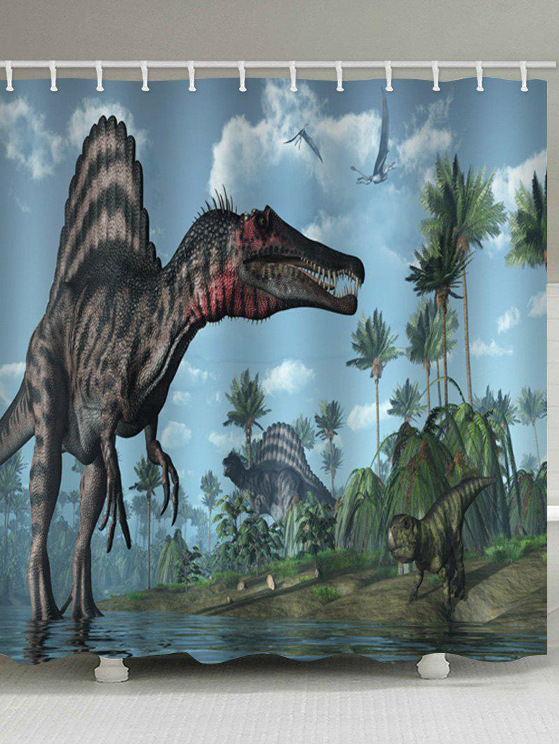 Dinosaur Forest Printed Stall Shower Curtain - multicolor W71 INCH * L79 INCH