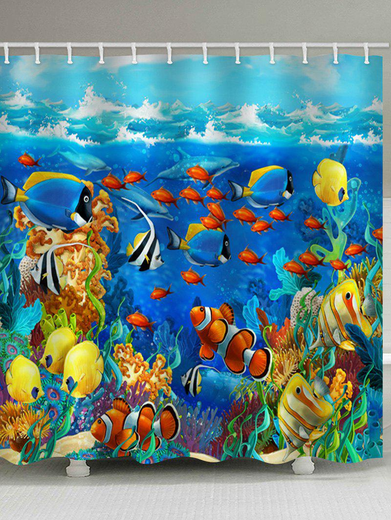 Cartoon Undersea World Printed Stall Shower Curtain - multicolor W71 INCH * L79 INCH