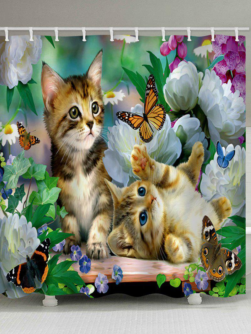 Little Cat Playing Butterflies Printed Shower Curtain - multicolor W59 INCH * L71 INCH