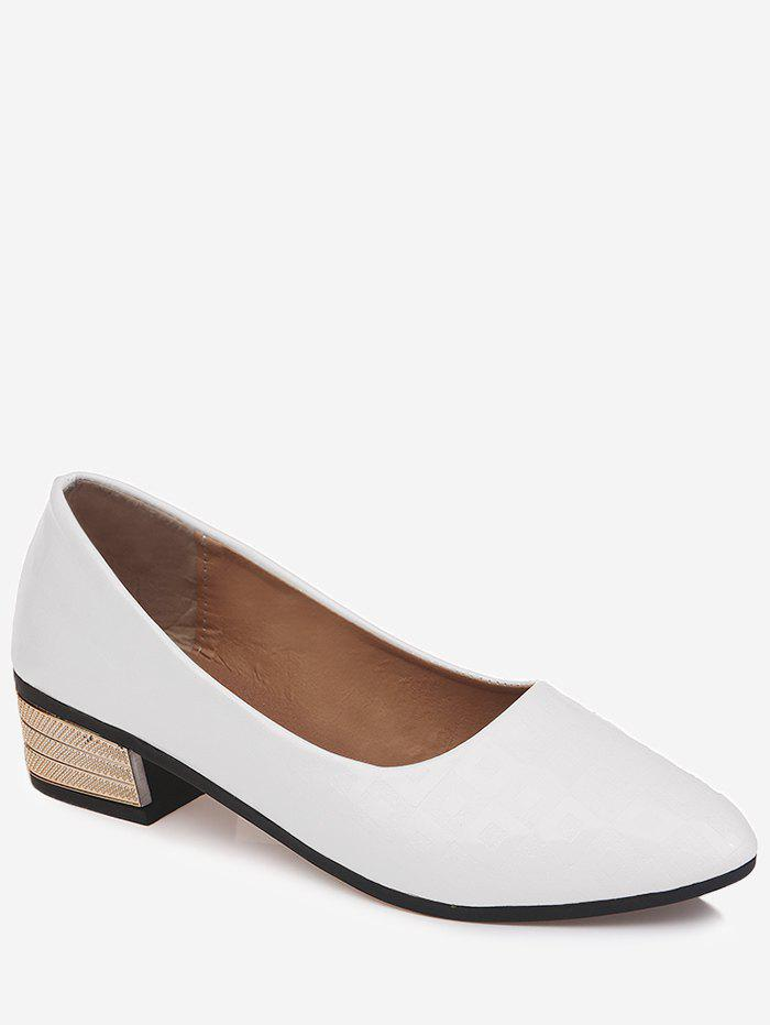 Chunky Heel Slip On Pointed Toe Leisure Pumps - WHITE 40