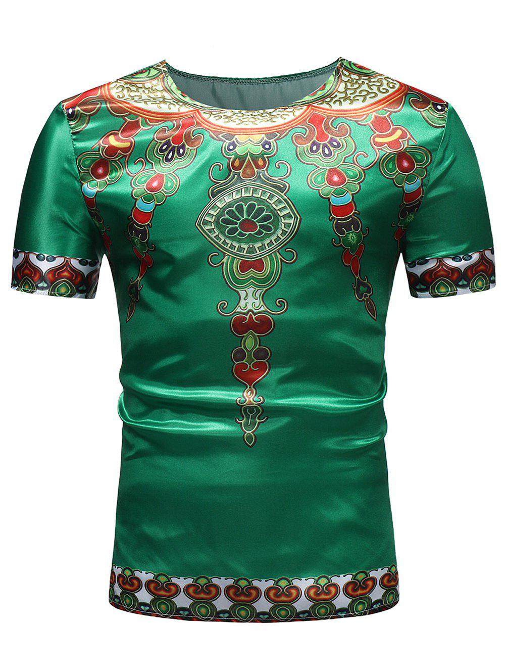 Casual Ethnic African Style Print Crew Neck T-shirt