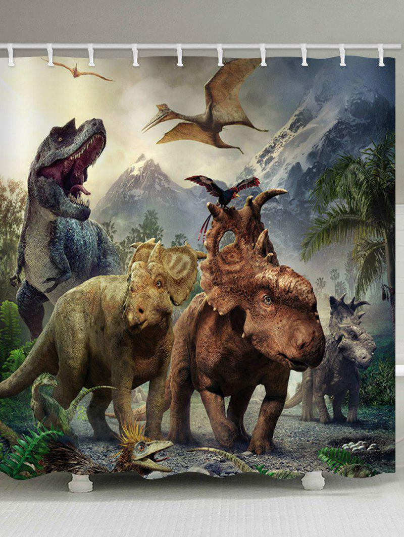 Dinosaurs World Printed Stall Shower Curtain - multicolor W65 INCH * L71 INCH