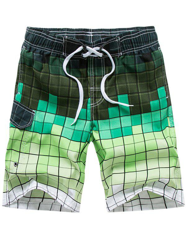 Drawstring Allover Square Print Board Shorts - YELLOW GREEN 2XL