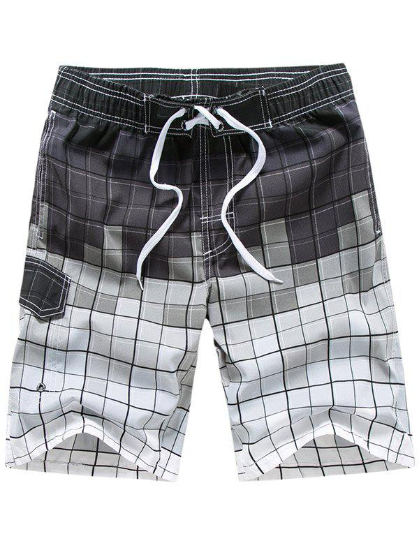Drawstring Allover Square Print Board Shorts - PLATINUM 2XL