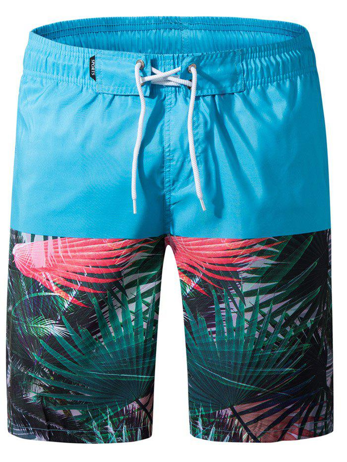 Panel Leaves Print Drawstring Beach Shorts - MACAW BLUE GREEN 3XL