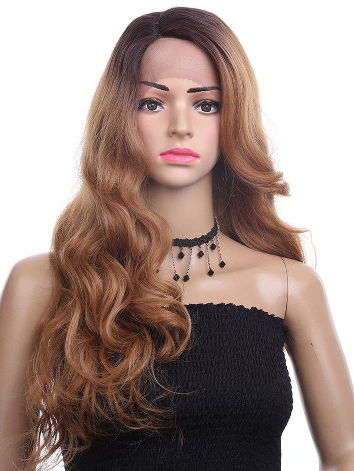 Side Parting Colormix Long Wavy Lace Front Synthetic Wig - multicolor 24INCH