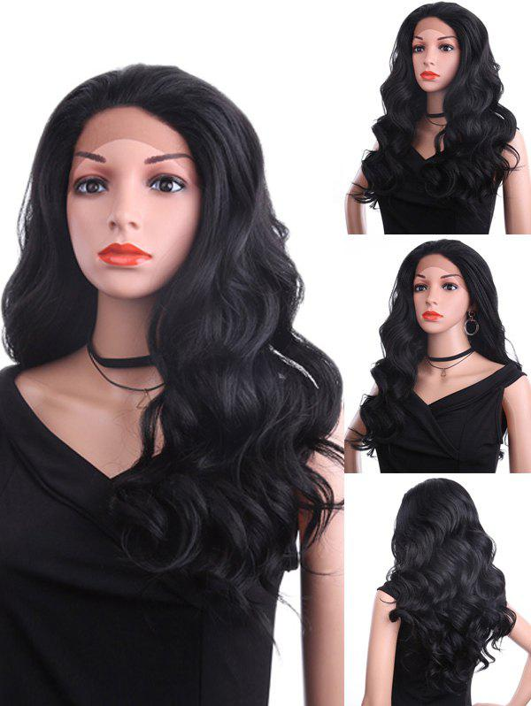 Free Part Long Wavy Heat Resistant Synthetic Lace Front Wig - BLACK 24INCH