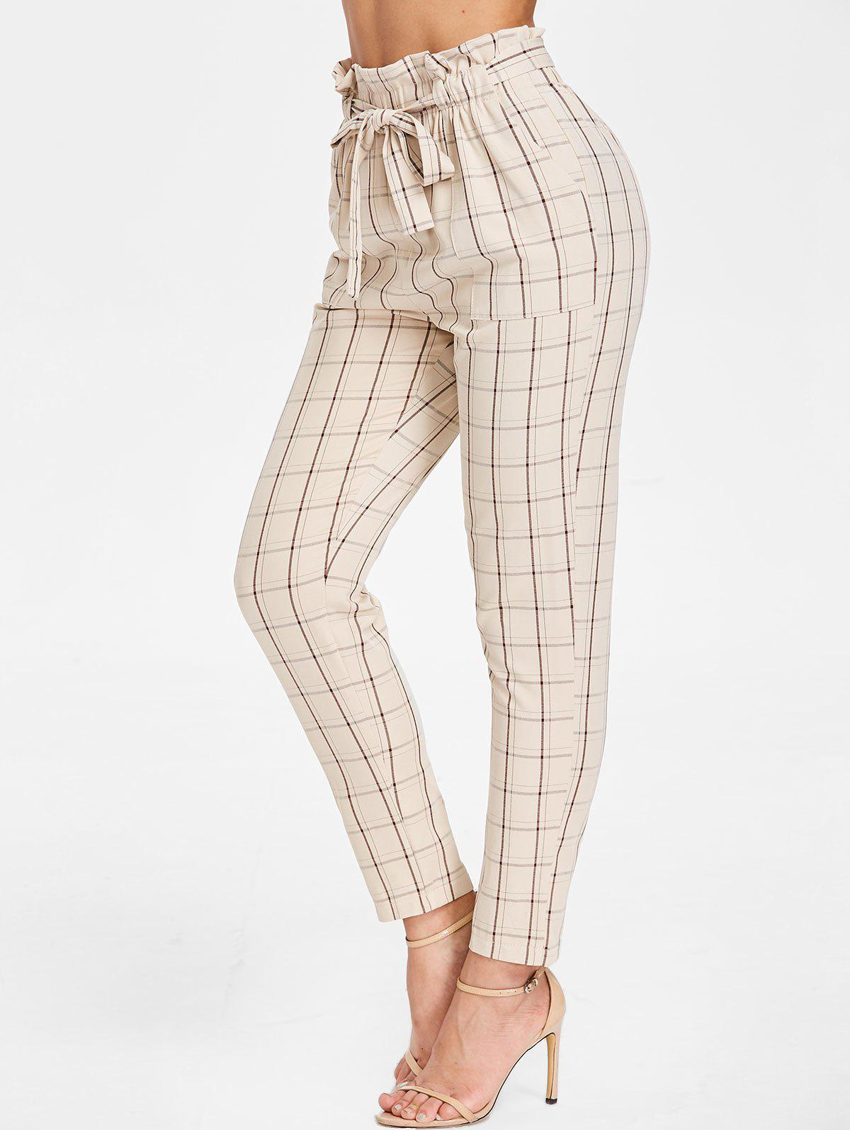 Elastic Waist Plaid Pants with Belt - BEIGE S