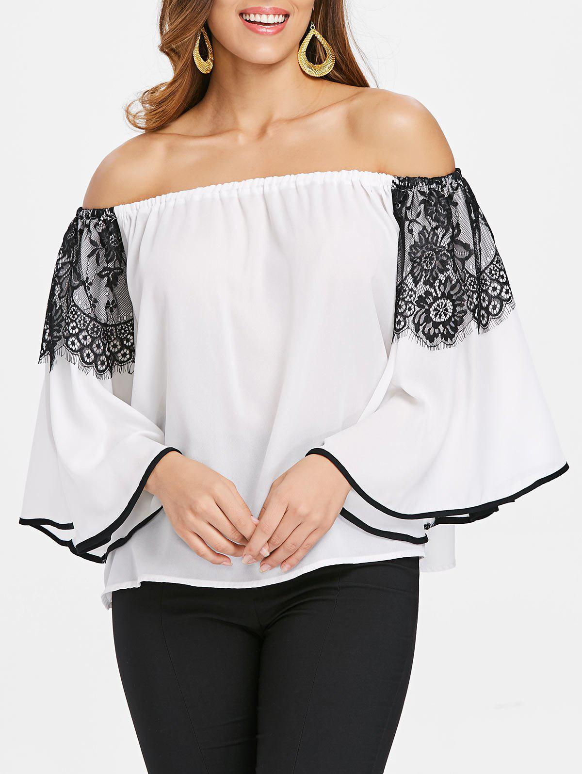 Bare Shoulder Butterfly Sleeve Blouse - WHITE L