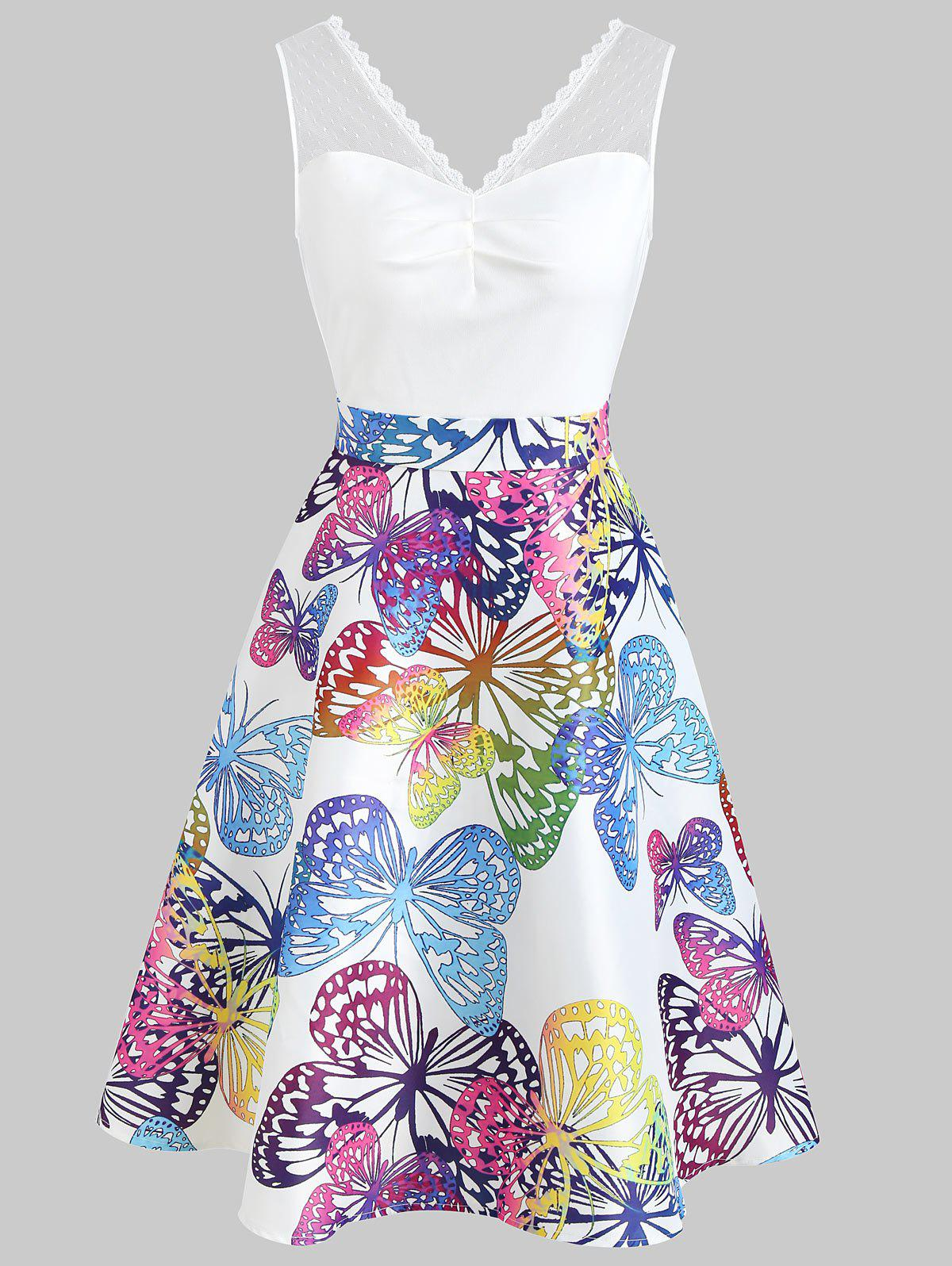 Butterflies Printed High Waist Sleeveless Dress - WHITE L