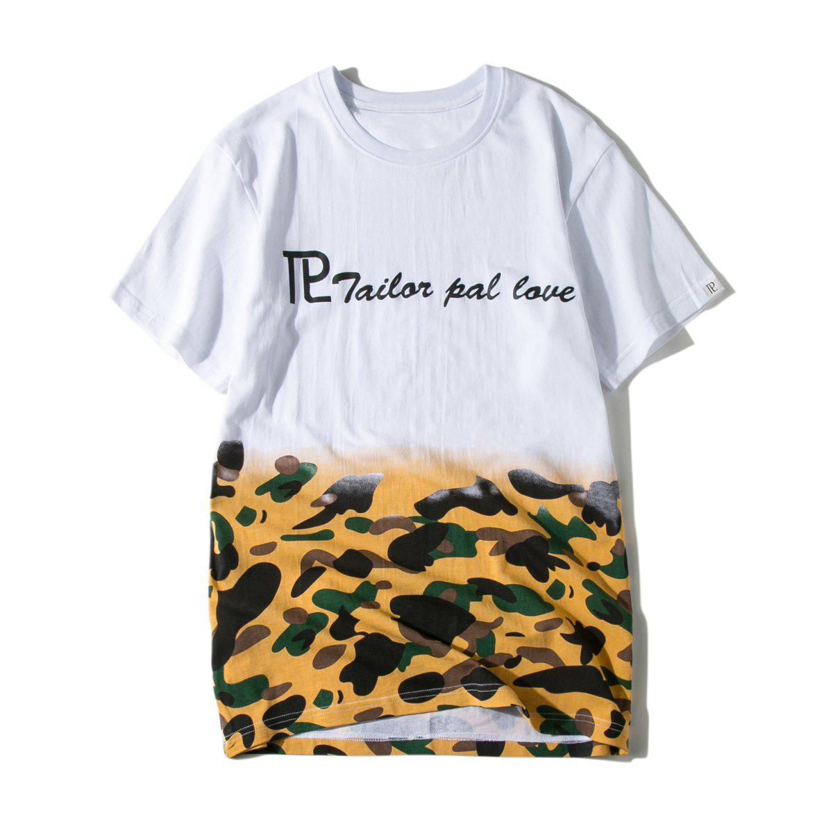 Casual Letter Camouflage Print T-shirt