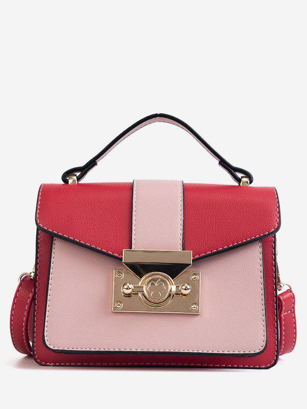 Contrasting Color Metallic Chic Handbag with Strap - LOVE RED